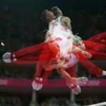 Denis Ablyazin of Russia competes in the horizontal bar event during the men's gymnastics qualification during the London 2012 Olympic Games