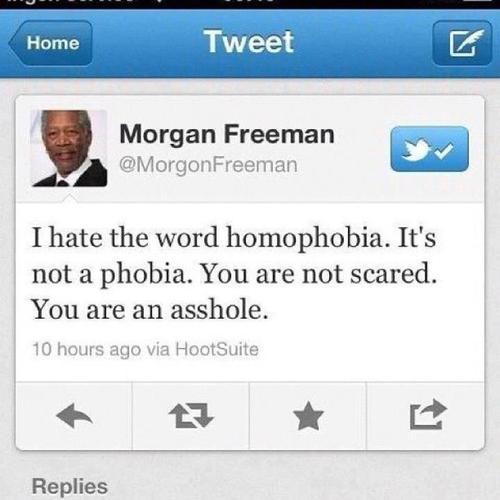 Morgan Freeman sobre a homofobia: você não está com medo, você é um idiota.