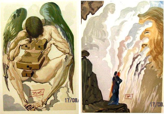 """Exposição """"Dante e Dalí - A divina Comédia""""  1 - """"The Reign of the Penitents"""" - 1964 --- 2 - A beleza das esculturas - Purgatory Canto 12  -1960/64"""